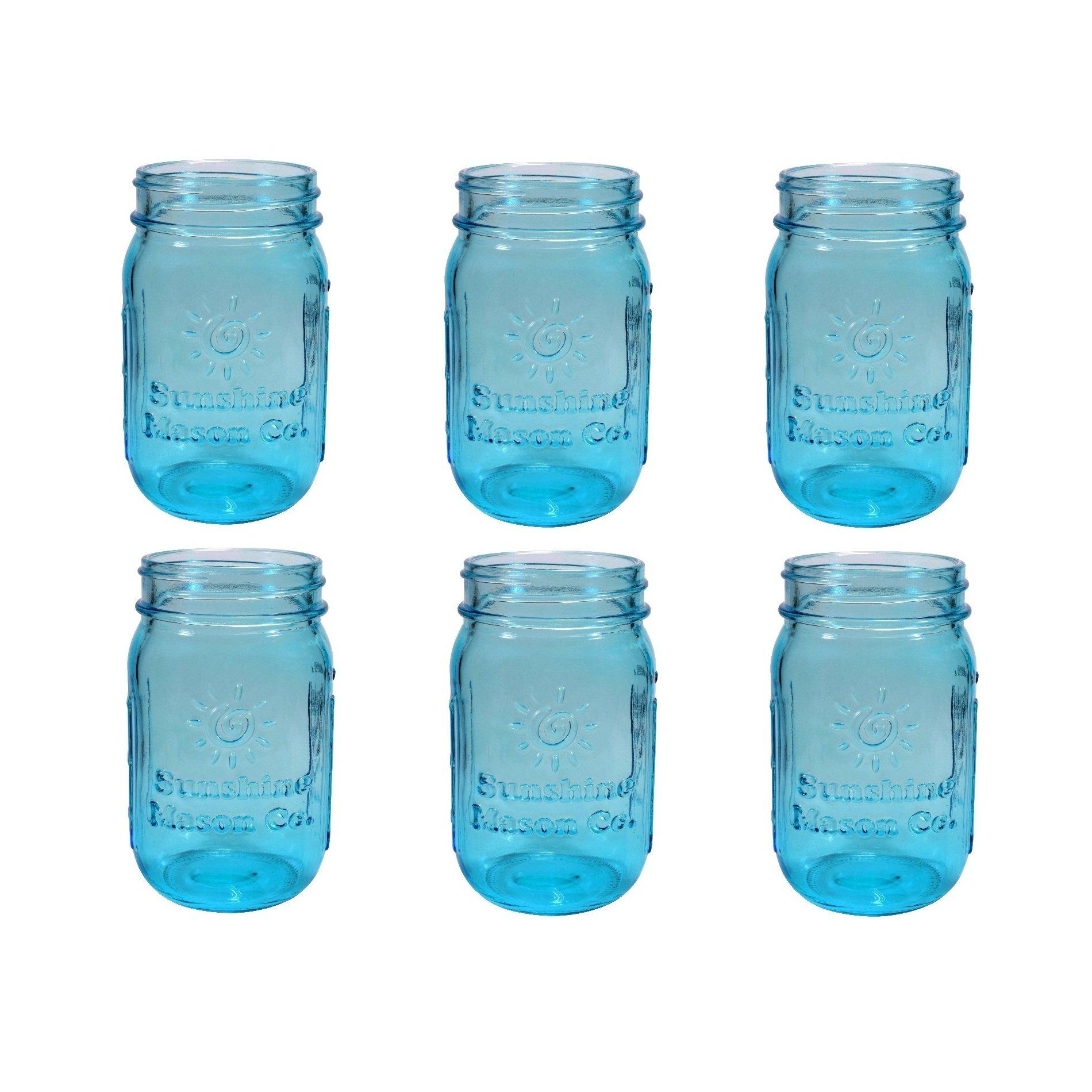 Sunshine Mason Co. Pint Sized Regular Mouth Glass Mason Jars Vintage Blue Color 6 Pack