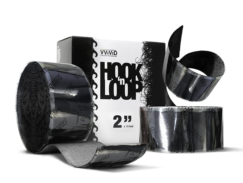 Hook 'n Loop 2 x 15ft Super Industrial Strength Adhesive Fastening Tape Black VViViD