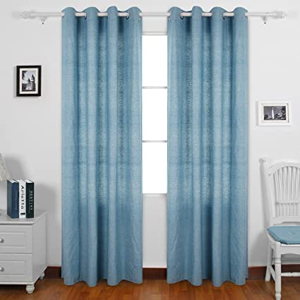 Deconovo Curtains Recycle Cotton Curtains Grommet Panel Window Curtain 63 Dining  Room Curtains 52 W X