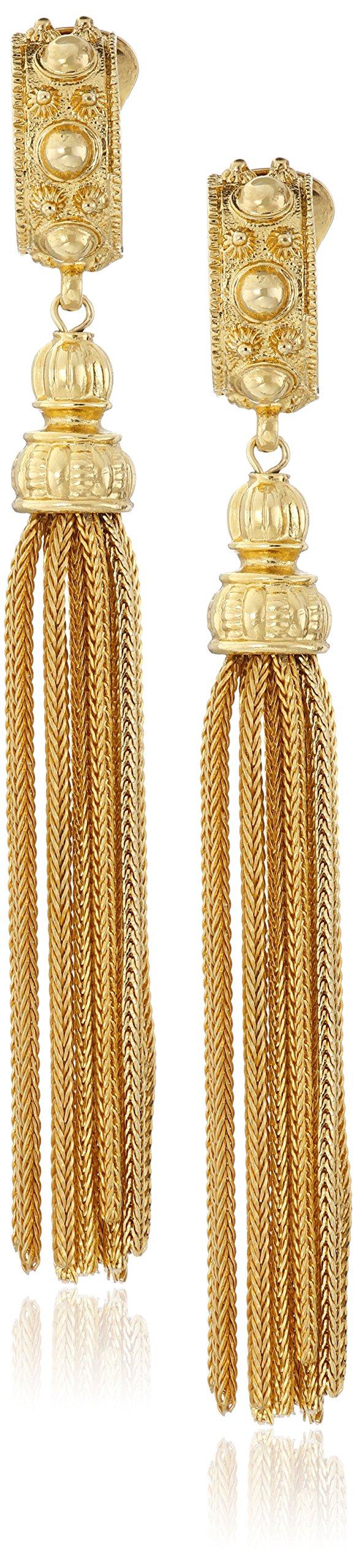 Ben-Amun Jewelry St. Tropez Tassel Turquoise Gold Clip-On Earrings