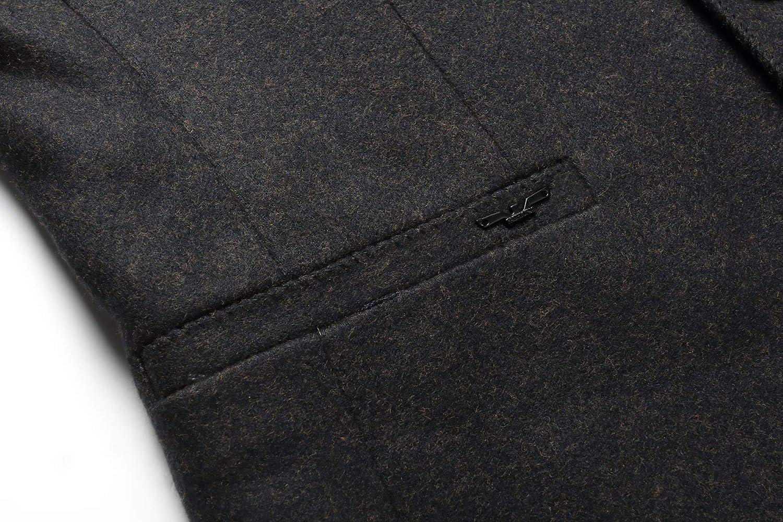 Mandarin Collar Blazer Jacket for Men Smart Casual Wool Tweed Sports Jackets Slim Fit