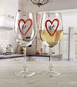 Circleware 77065 Mrs. Decal Wine Glasses Set of 2 Party Entertainment Dining Beverage Drinking Glassware Cups for Water, Liquor, Whiskey, Beer, Juice and Farmhouse Decor Gifts, 15 oz, Clear