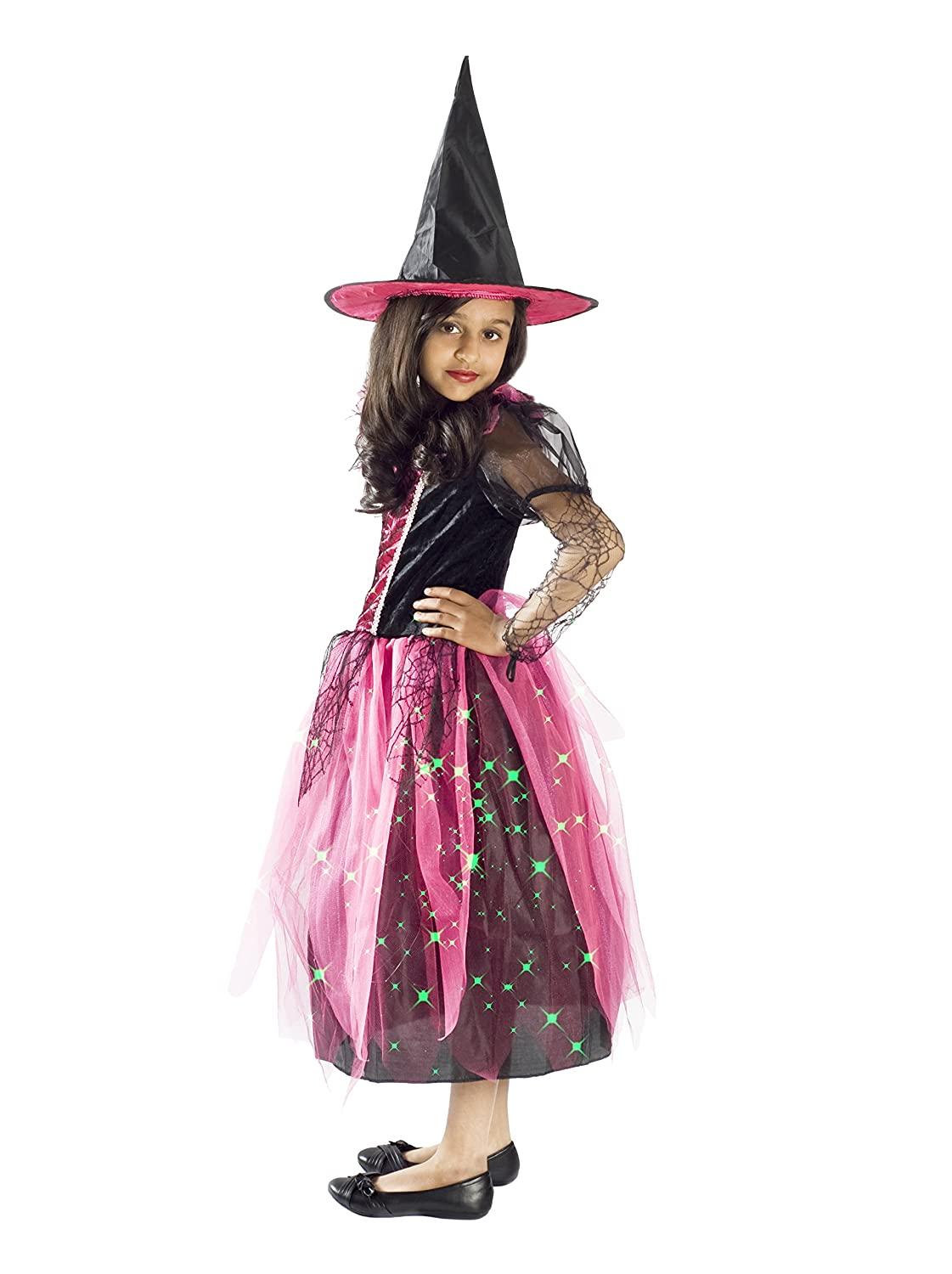 Amazon.com: Witch Costume for Girls Black Light up Pink Size Small ...
