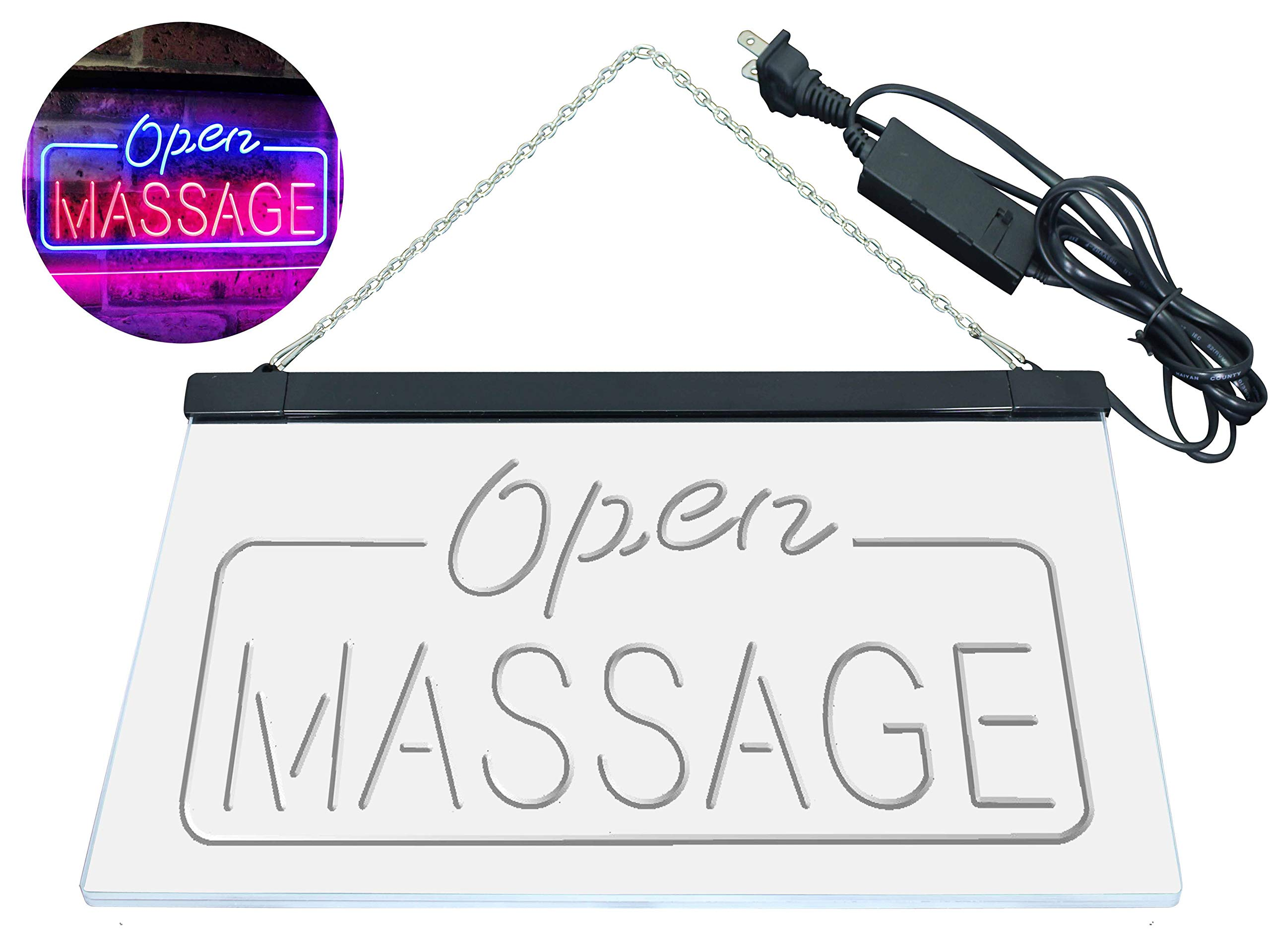 AdvpPro 2C Massage Therapy Open Walk-in-Welcome Display Body Care Dual Color LED Neon Sign Blue & Red 12'' x 8.5'' st6s32-i0365-br