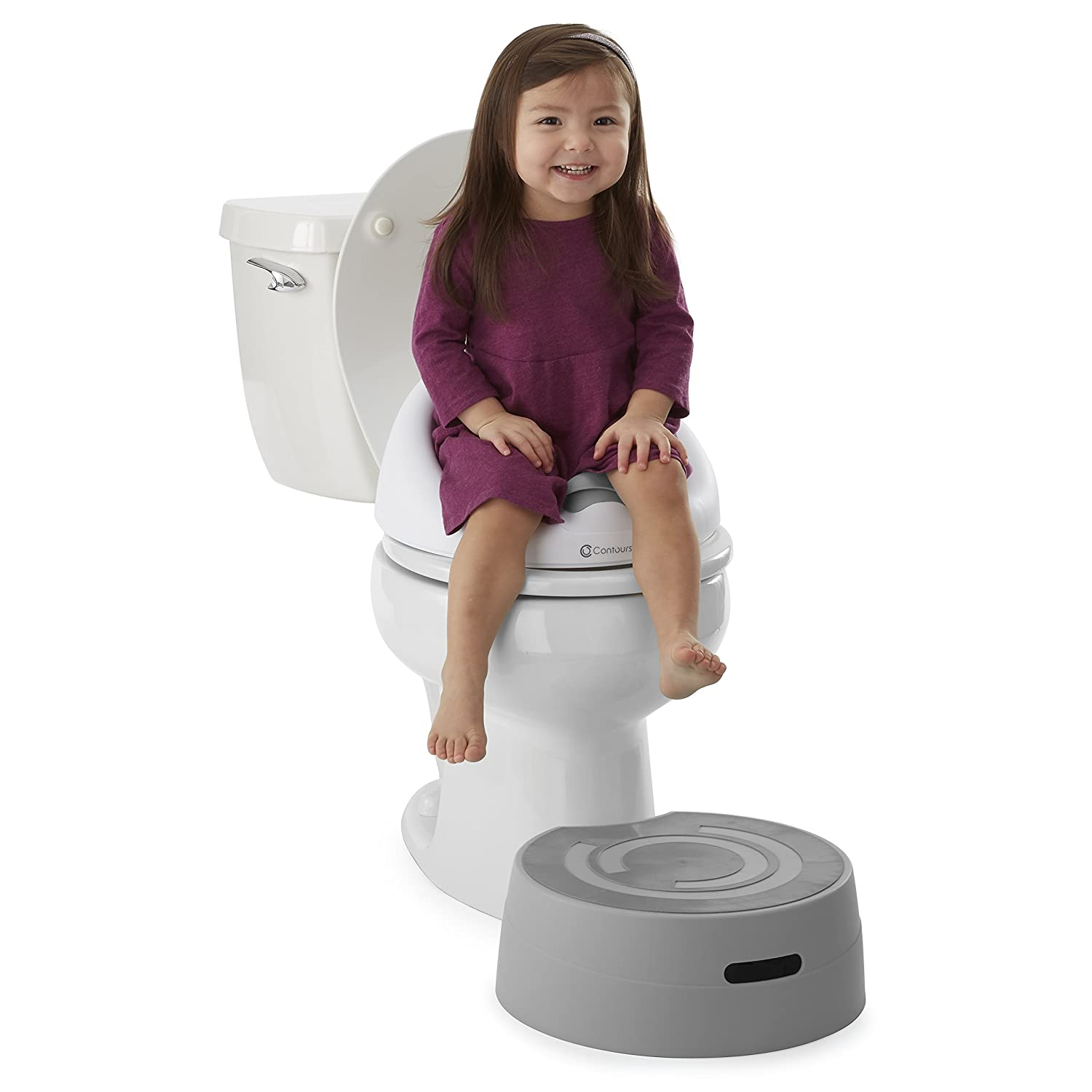 Grey Step Stool All in One Toilet Trainer Potty Chair Contours Bravo 3-in-1 Potty System