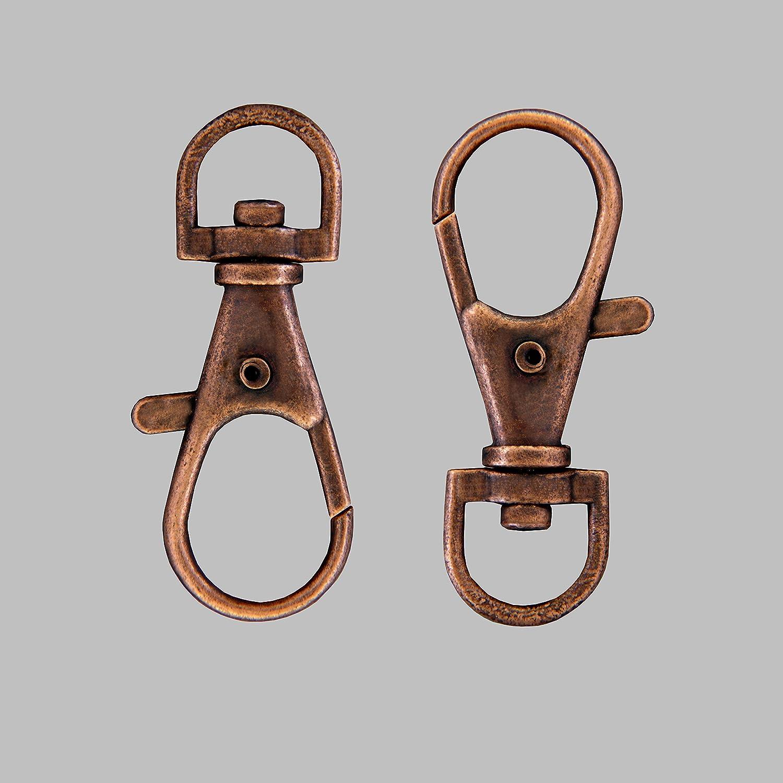 36 x 12 mm Bolsa de 10 cierres de mosquet/ón para llavero//llaves de metal cobre