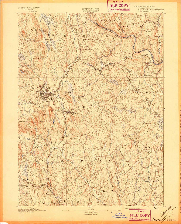 Amazon.com: YellowMaps Danbury CT topo map, 1:62500 Scale, 15 X 15 on