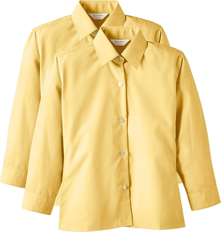 Trutex 2PK LS Non Iron Shirt, Camisa Niñas, Oro (Gold), 14 cm ...