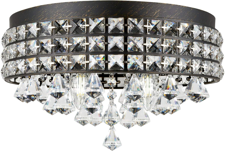 Kira Home Gemma 15 Modern Chic 4 Light Flush Mount Crystal Chandelier Round Metal Shade Dimmable Brushed Black Finish Amazon Com