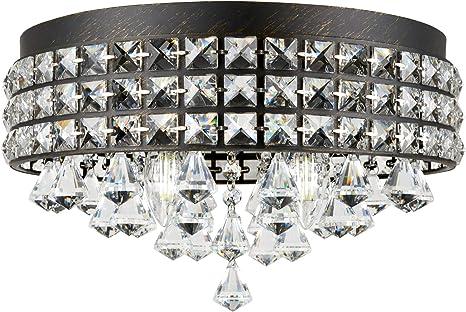 "Brushed Nickel Finish Revel Gemma 15/"" 4-Light Flush Mount Crystal Chandelier"