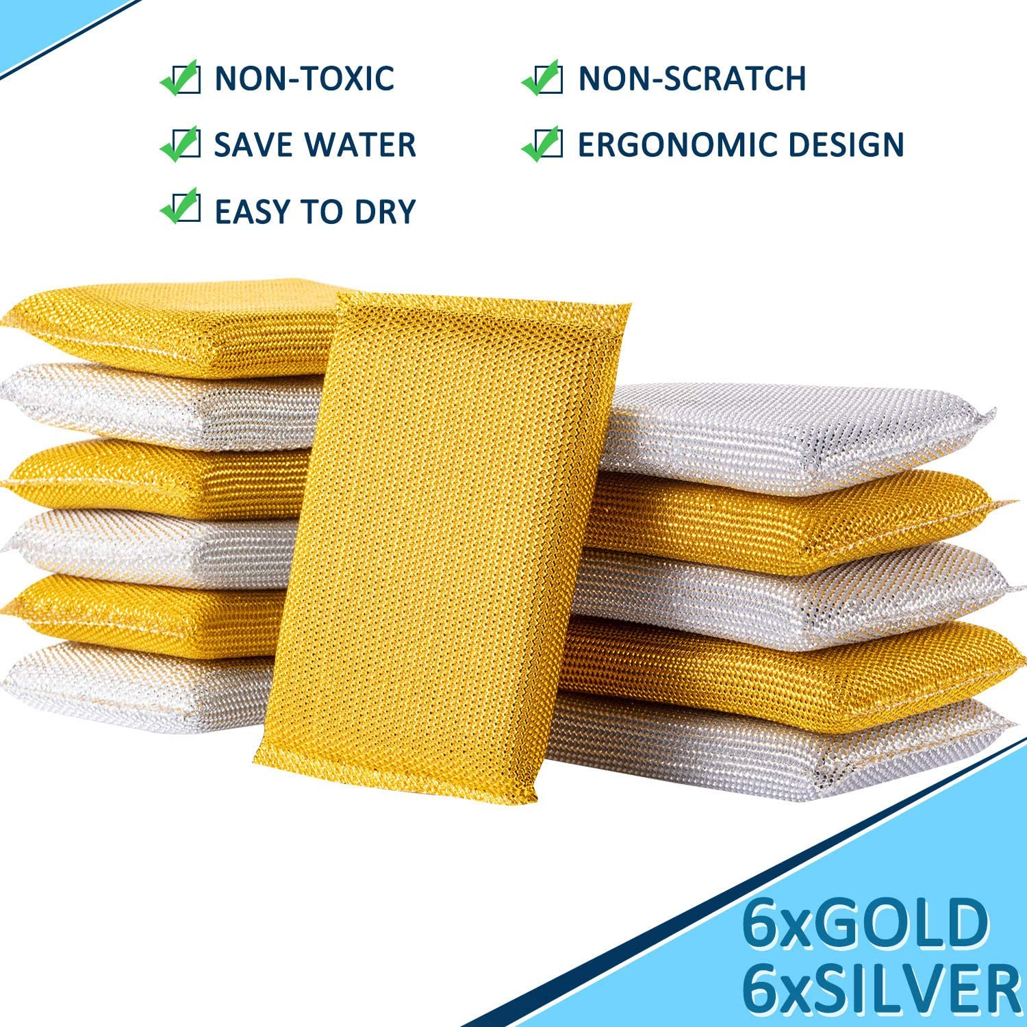 Heavy Duty Non-Scratch Scrubbing Cleaner Sponges Dish Washing and Bathroom Sponges Multi-Surface Non-Metal Dish Scouring Scrubbers 12 Pieces Scrubbing Sponges