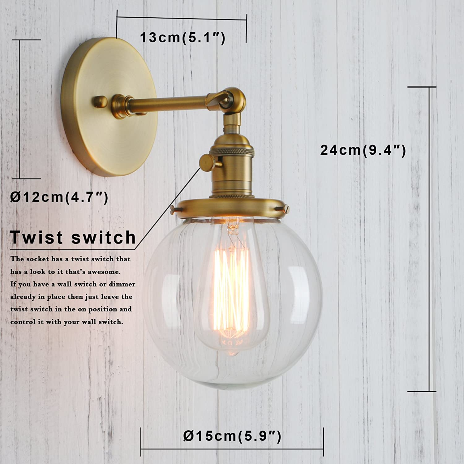 Permo vintage industrial wall sconce lighting fixture with mini permo vintage industrial wall sconce lighting fixture with mini 59 round clear glass globe hand blown shade antique amazon amipublicfo Image collections