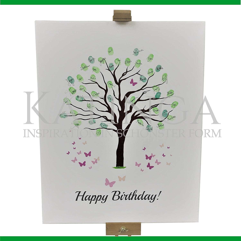 Lienzo de cumpleaños - diseño de árbol - como Libro de visitas para huellas dactilares (40 x 50 cm, incluye lápiz + Tampón): Amazon.es: Hogar