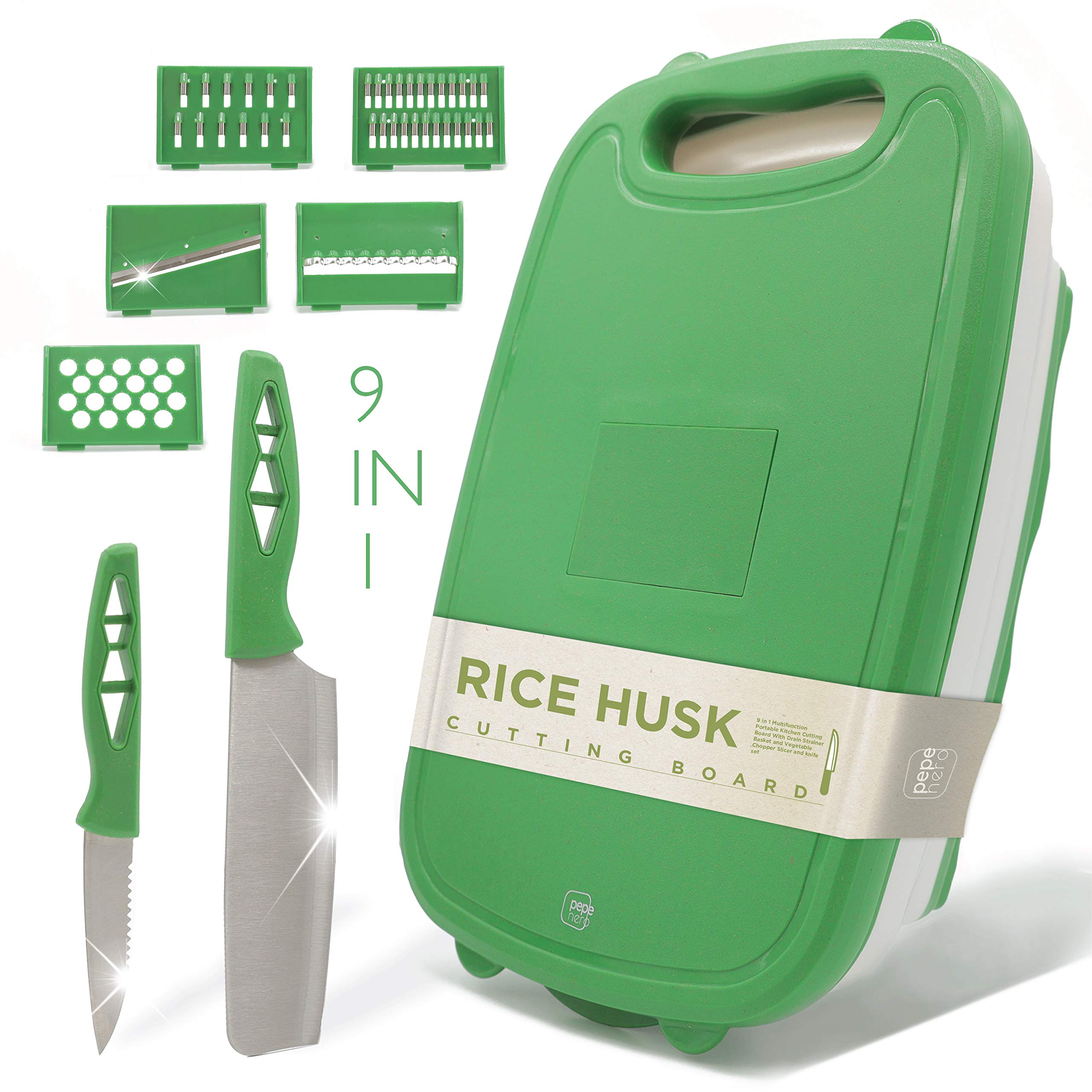 Cutting Board For Kitchen - 9-In-1 Multifunctional Cutting Boards - Rice Husk Material - Collapsible Chopping Board + 2 Knifes + Fruit & Vegetable Slicer Kit + Strainer - Kitchen Set - Dishwasher Safe by Pepe Nero