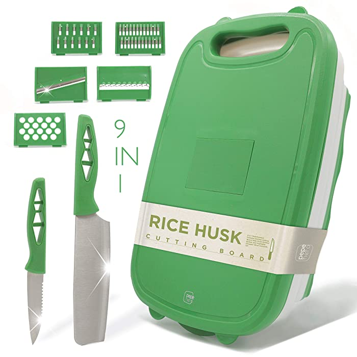 Cutting Board For Kitchen - 9-In-1 Multifunctional Cutting Boards - Rice Husk Material - Collapsible Chopping Board + 2 Knifes + Fruit & Vegetable Slicer Kit + Strainer - Kitchen Set - Dishwasher Safe