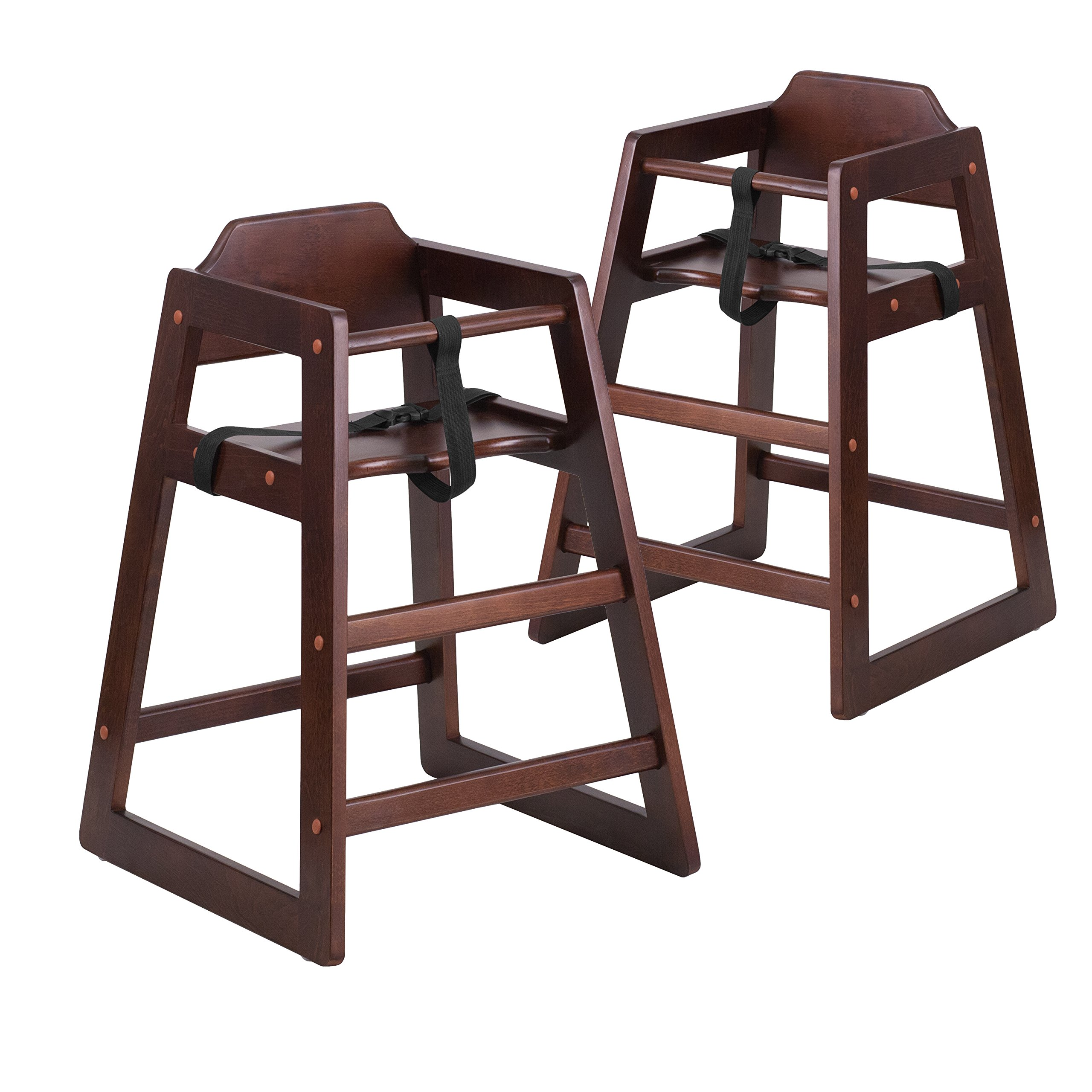 Flash Furniture 2 Pk. HERCULES Series Stackable Walnut Baby High Chair