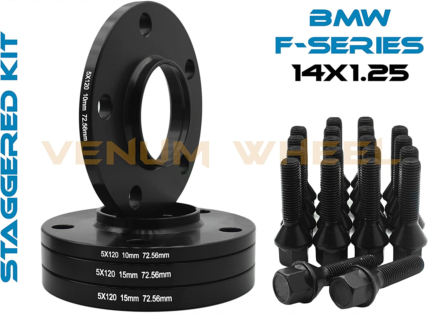 10MM FLAT WHEEL SPACERS FOR BMW VEHICLES 5X112 CENTER BORE 66.5 BLACK ANODIZED