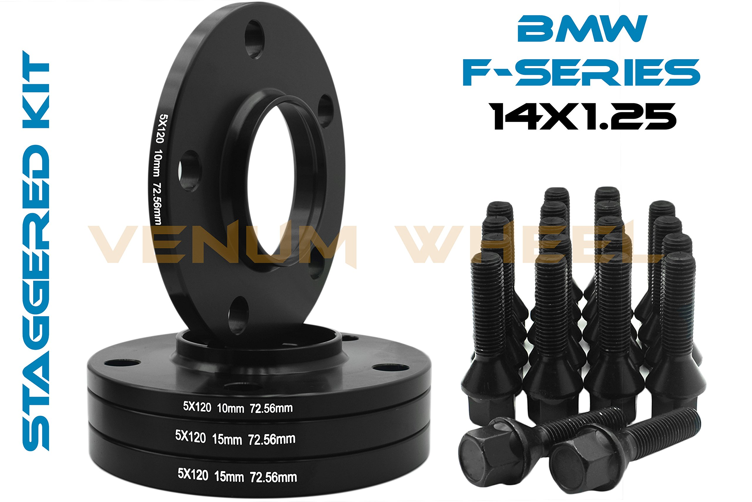 Complete Set Of 10mm & 15mm Staggered Bmw Black Hub Centric Wheel Spacers 5x120 - 72.56 H.B - F30 F31 320 328 335 F80 M3 F32 F82 M4 435 F22 F23 228 235 F10 528 535 M5 F11