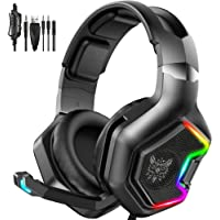 GLEENFIT RGB Gaming Headset PS4&PS5 Headset, Xbox One Headset with Noise Canceling Mic&Led Light, PC Headset with 7.1…