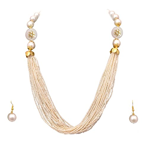 871c1595f114f6 Buy Sitashi Imitation/Fashion Jewellery Handmade Casual wear White Created  Pearl Thread Necklace Set for Girls and Women Online at Low Prices in India  ...