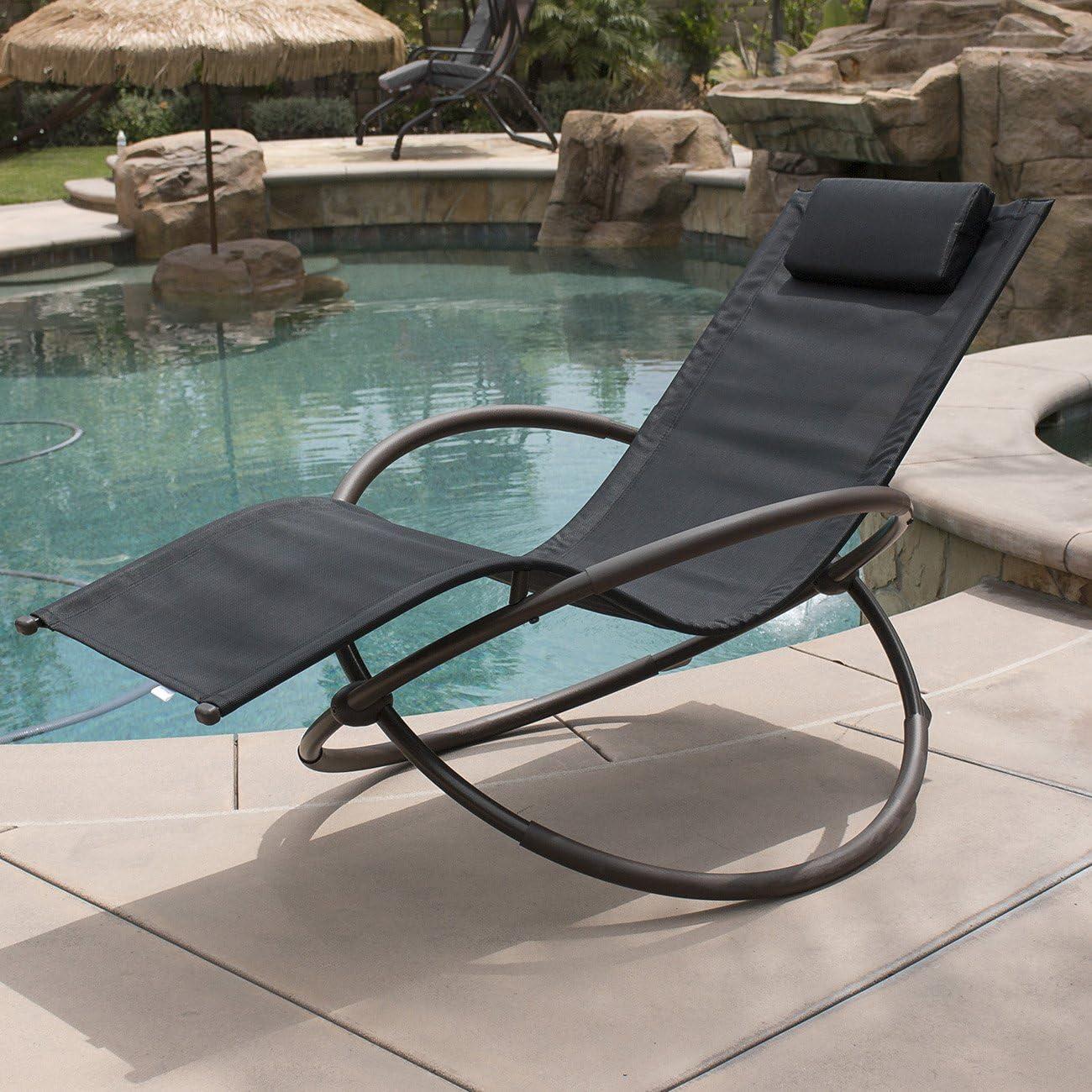 Belleze Zero Gravity Orbital Lounger Rocking Chair Outdoor Patio Yard Furniture, Black