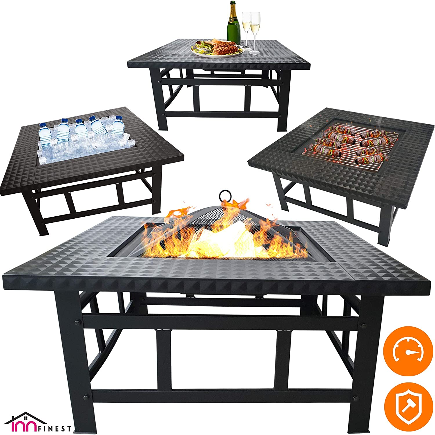 Fire Pit Table Outdoor Set – 32 Inch Diameter Square Fireplace – Multifunctional Garden Terrace Fire Bowl Heater, BBQ, Ice Pit, Outside Wood Burning – with BBQ Grill Shelf, Waterproof Rain Cover