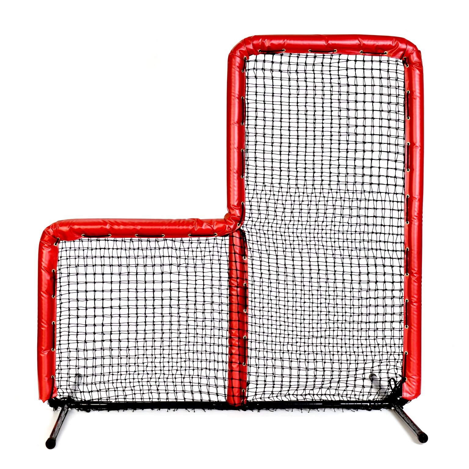 Armor Series Pitching Screen Baseball Softball Practice Net with Screen Bulletz Leg Caps. 7x7 L-Screen Perfect for Baseball and Softball Batting Practice. Choose Padding Color. (Red) by Armor
