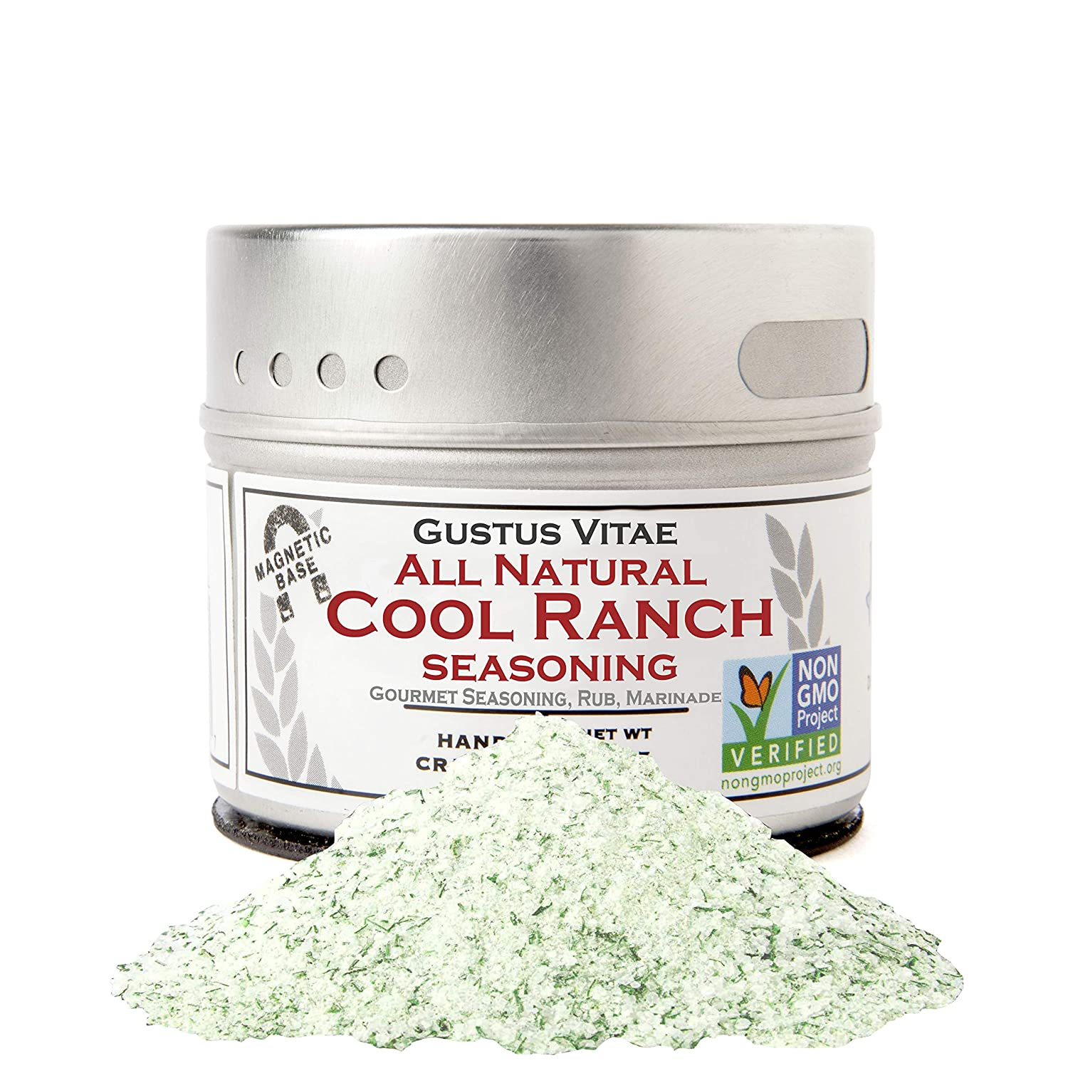 All Natural Cool Ranch Seasoning - Authentic Artisanal Gourmet Spice Mix - Non GMO Project Verified - 2 oz - Small Batch - Magnetic Tin - Gustus Vitae