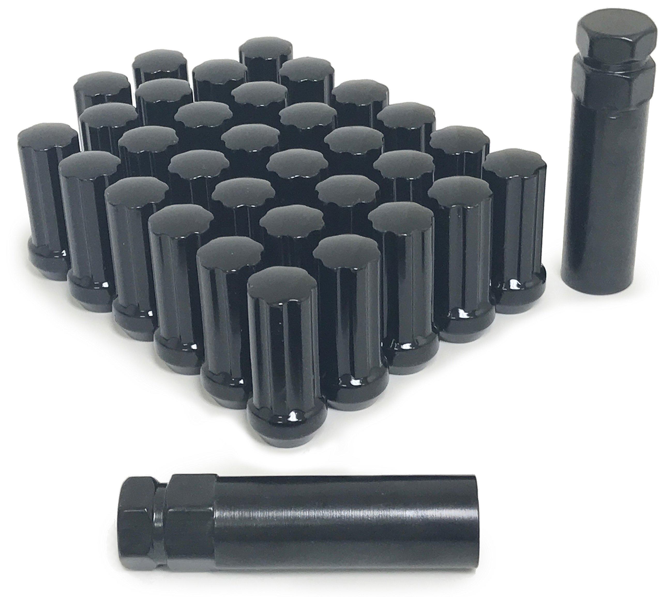 32 BLACK SPLINE LUG NUTS   14X1.5   CHEVY GMC   SILVERADO HUMMER   8X6.5
