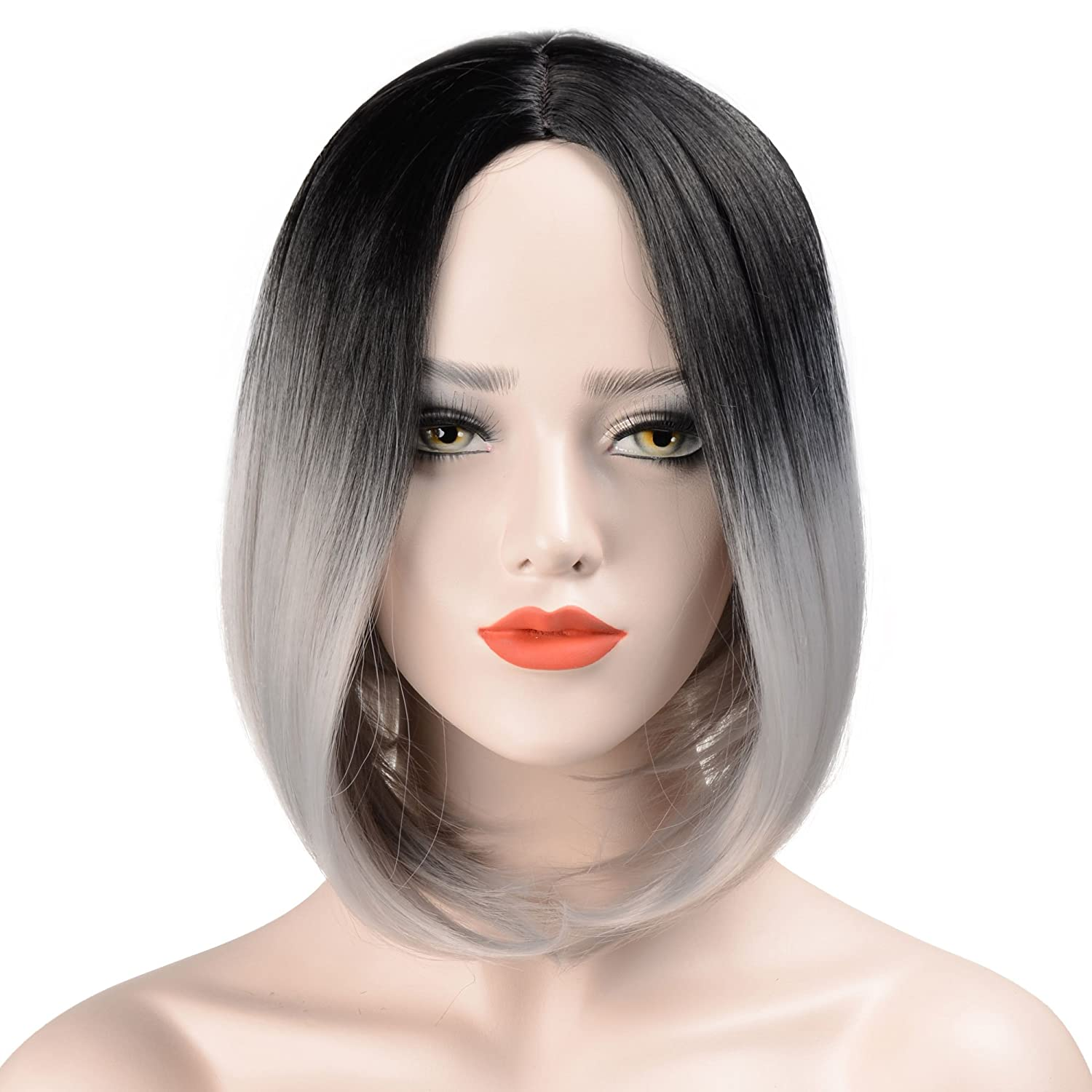 Hawkko Wigs For Black Women Bob Straight Hair Natural Looking Short Ombre Wigs Synthetic Hair Fashion Heat Resistant Full Head(Black/Grey)