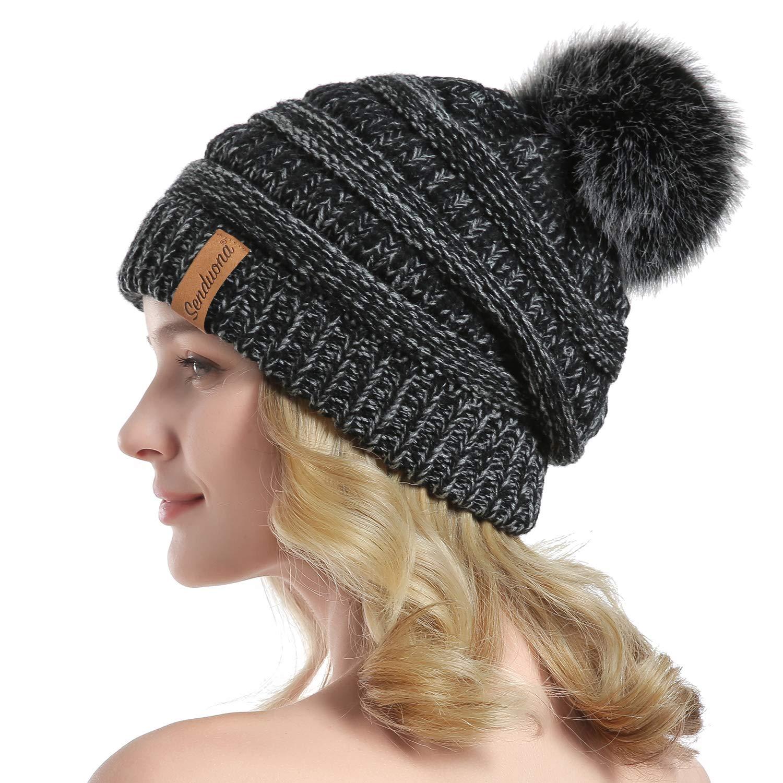 SENDUONA Women Winter Slouchy Beanie Thick Chunky Baggy Hat Knit Warm Snow Cap with Faux Fur Pom Pom Beanie Hats