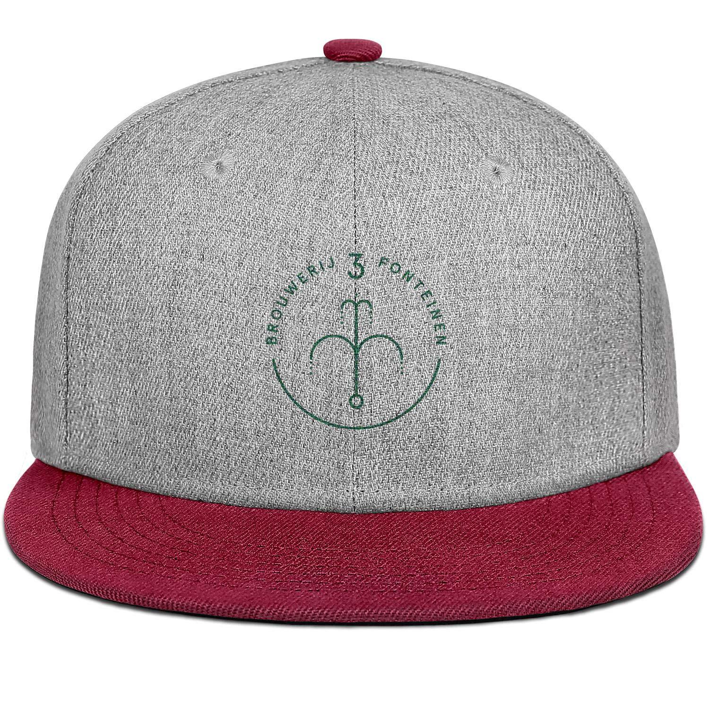 Mens Womens Wool Flat Brim Ball Cap Geuzestekerij-Fonteinen-Oude Adjustable Snapback Sun Hat