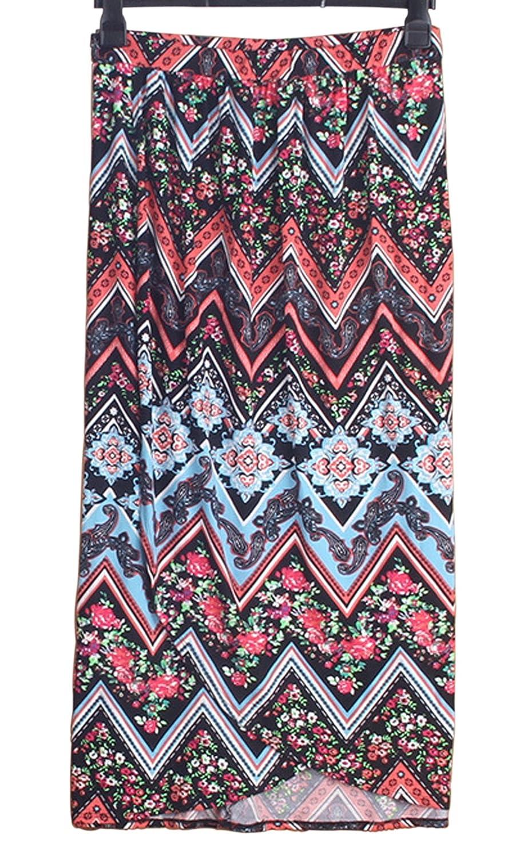 81b8cf0a2 lyautovision Women multicolored Print Elastic Long Skirt Boho Skirt