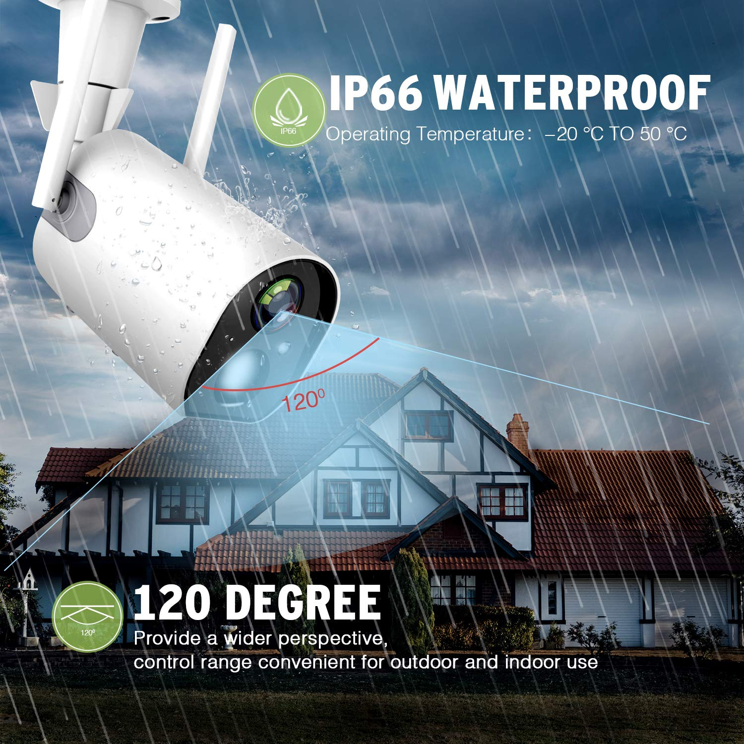 Outdoor Camera Wireless, Rechargeable Security Camera, Motion Detection, 2-Way Audio, Night Vision, IP66 Waterproof, with 10400mAh Battery, 4DB Wireless Antenna, Indoor/Outdoor 1080P WiFi Camera