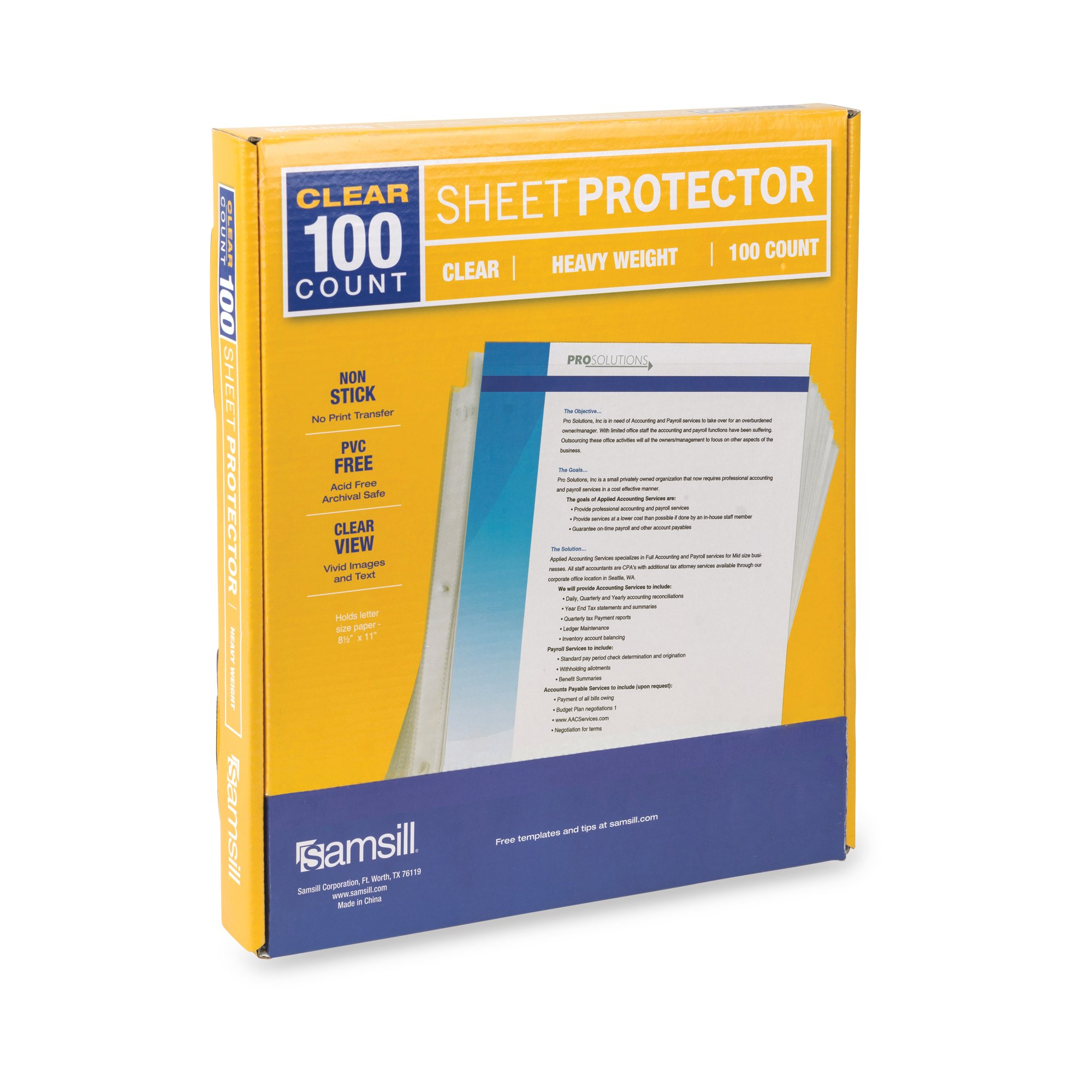 Samsill Heavyweight Clear Sheet Protectors, Box of 100, Acid Free & Archival Safe, 8.5 x 11 Inches, Top Load