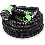 Flexibler Gartenschlauch 30m schwarz - Testurteil SEHR GUT - Black Edition flexiSchlauch Sondermodell von tillvex mit verstärktem Gewebe - inkl. Zubehör - Dehnbarer Wasserschlauch - leicht & robust