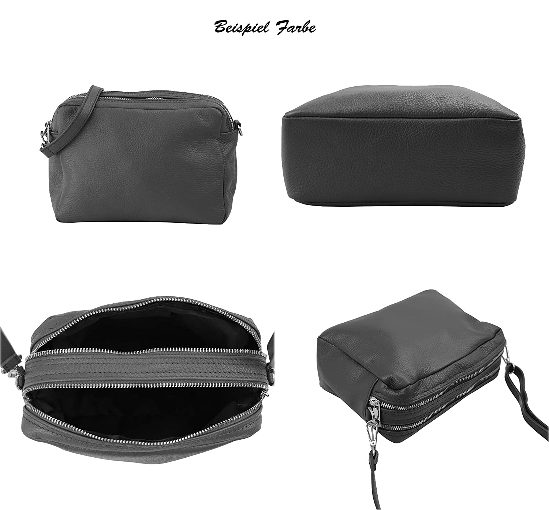 SH läder äkta läder axelväska medium liten väska crossbody väska messenger handväska med dragkedja 23 x 16 cm Bettina G356 Mörkröd