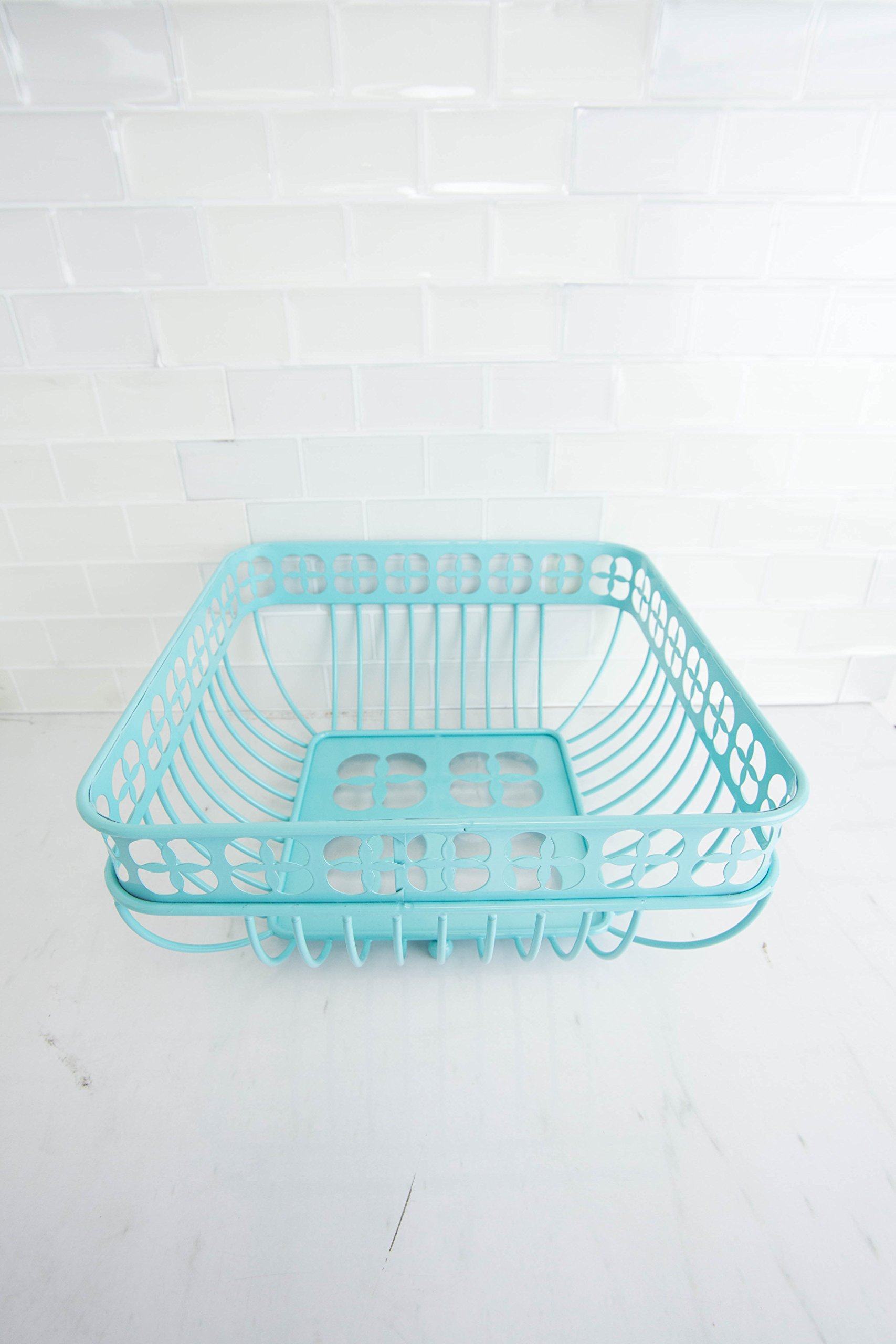 Home Basics Trinity Fruit Basket Square, Turquoise by Home Basics (Image #4)