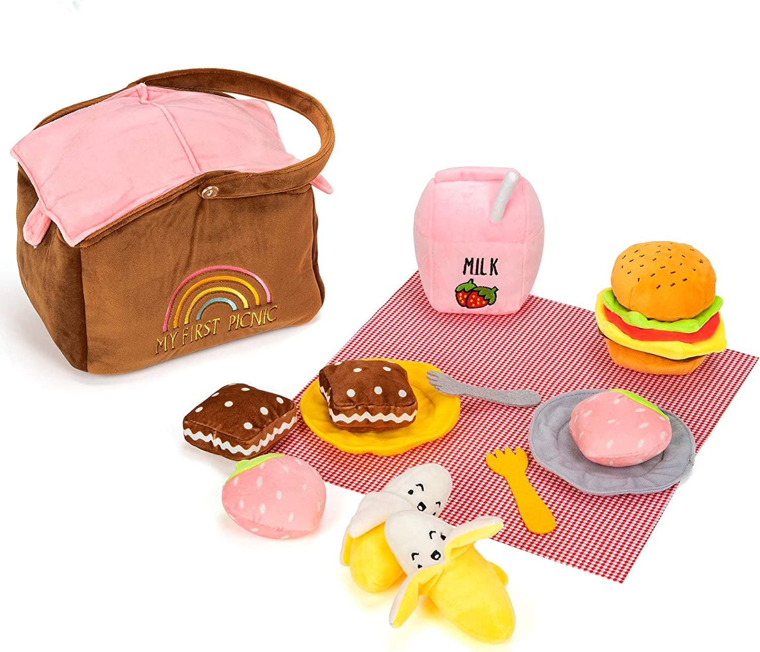 TCBunny 14 Piece Set of Plush Soft Stuffed Picnic Food Playset, Imaginative Play, Picnic Toy with Sounds, Toddler for Ages 3+
