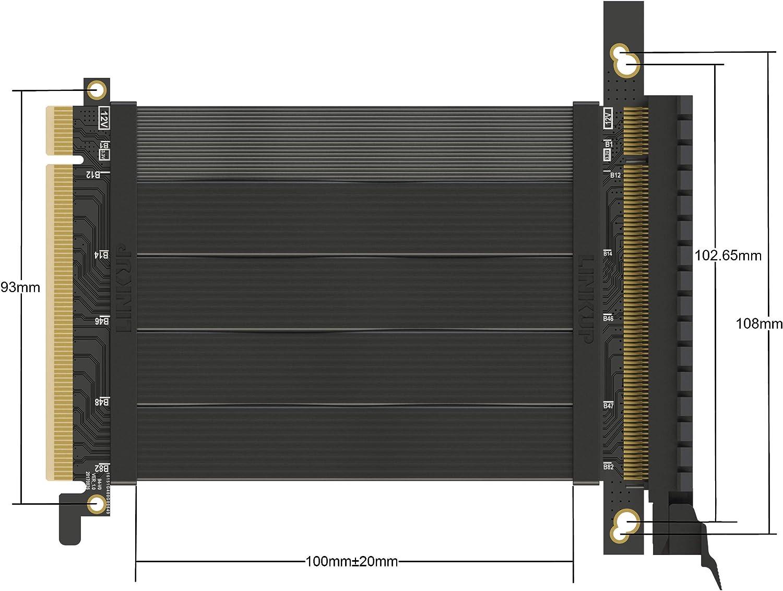 Prise Droite 180/° Compatible TT LINKUP {15 cm} PCIE 16x 64GB//s Twin-axial PCI Express C/âble Riser Prime Carte dExtension de Port Super Blind/ée 2020 Rev