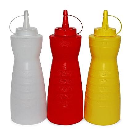 getgastro – Botella Gastro Juego greehome Ketchup Mostaza mayonesa 700 ml | dispensador de salsa |