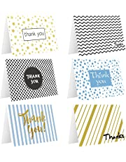 Ohuhu 48 Assorted Thank You Cards, Postcard Style Thank U Greeting Card of 6 Designs, One Blank Side Note Cards Card Stock W/48 Envelopes & 48 Stickers for Wedding, Baby Shower, Graduation
