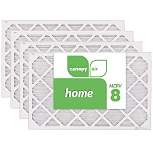 """Canopy Air 16x25x1 MERV 8 15 1/2"""" x 24 1/2"""" x 3/4"""", 4-Pack Dust Protection Air Filter for a Healthy Home, Made in The USA"""