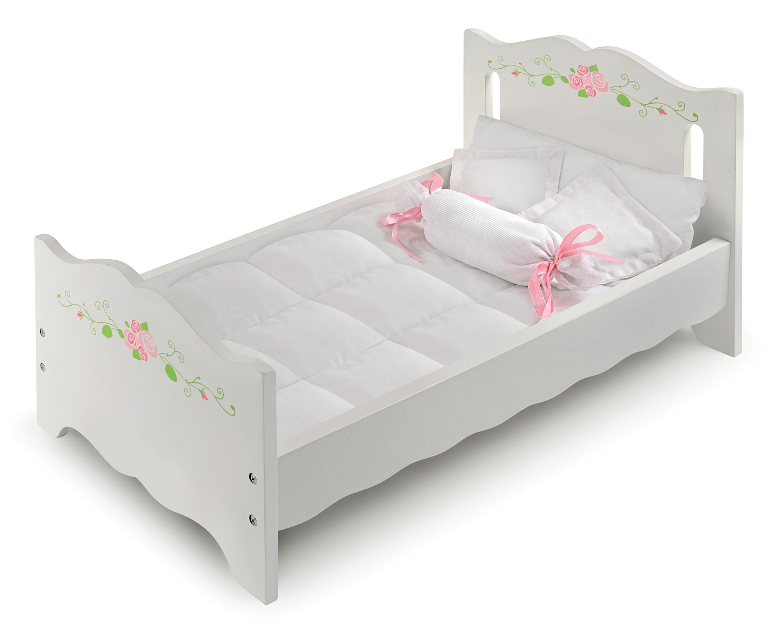 White Rose Doll Bed with Bedding and Free Personalization Kit (fits American Girl Dolls) by Badger Basket