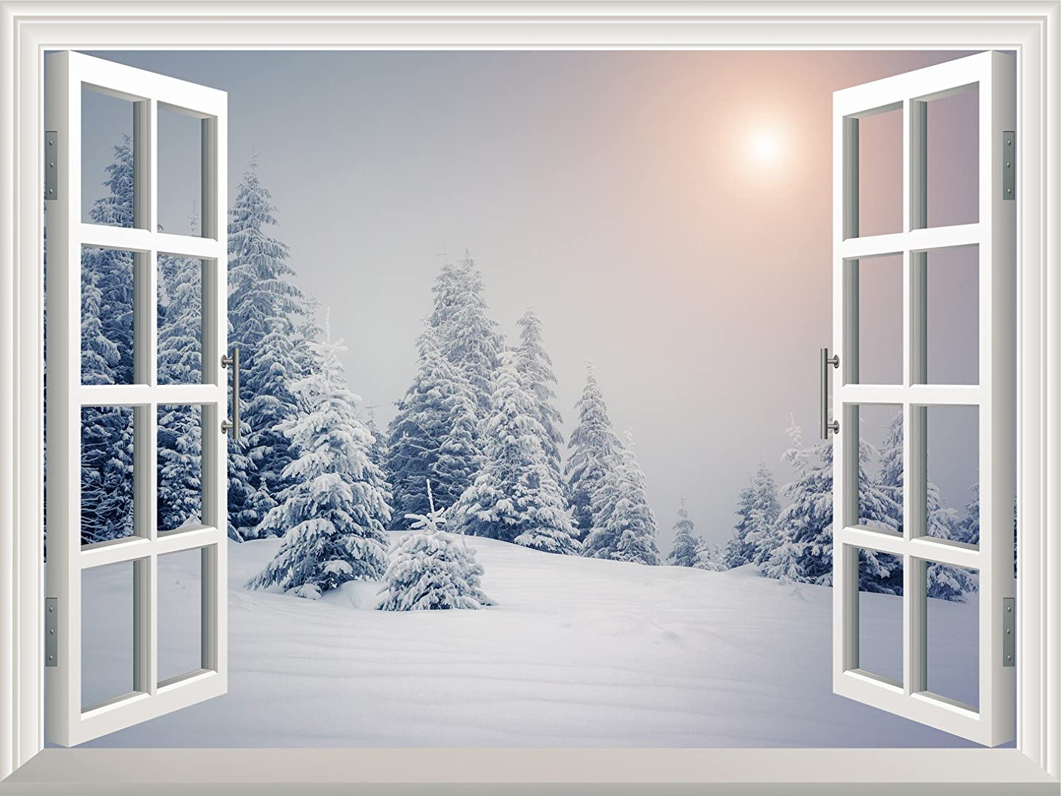 wall26 com art prints framed art canvas prints greeting wall26 removable wall sticker wall mural pine trees covered by white snow out of the open window wall decorr 36