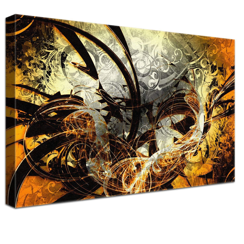 LANA KK Luxus Ausführung Jungle Graf Orange  Abstraktes Design auf 4cm Echtholz, dreiteilig, Orange, 120 x 80 cm B074SQWHDZ | Billig
