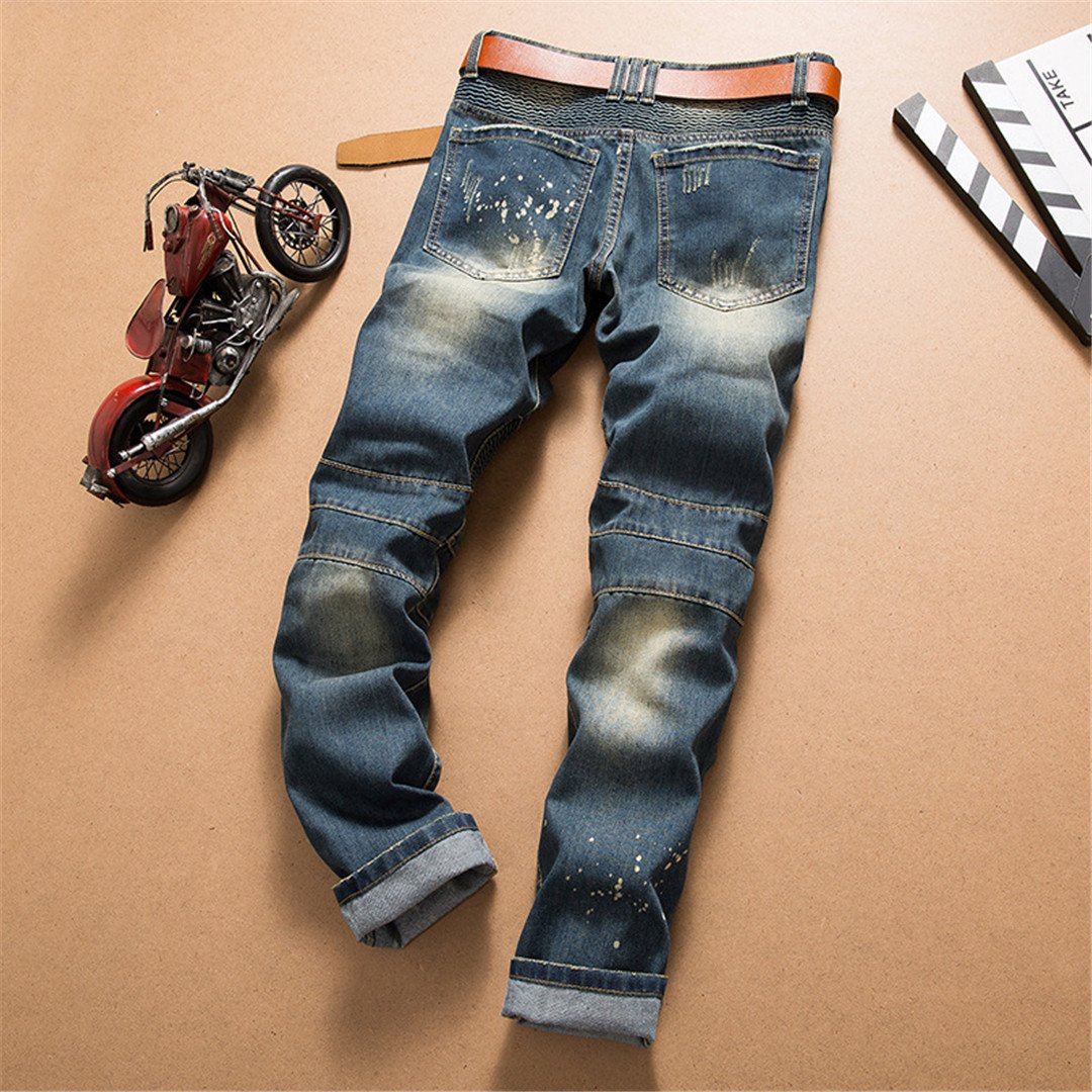 Retro Colors Jeans Homme Europe Funky Hole Patches Distressed Jeans Slim Fit Straight Leg Rock Jeans
