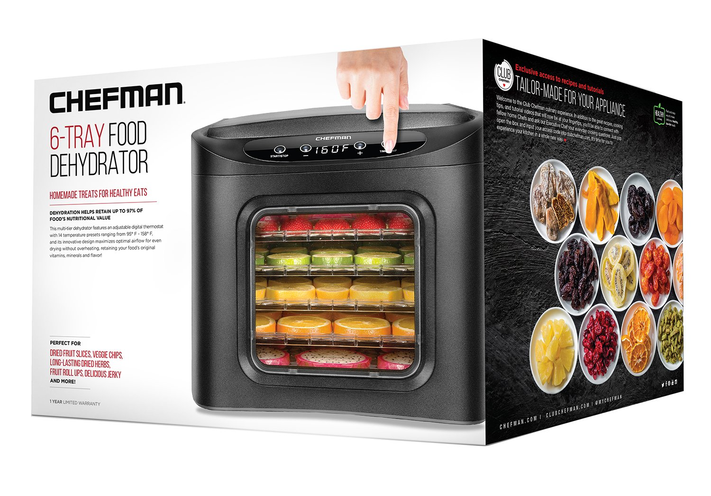 Chefman Food Dehydrator Machine, Electric Multi-Tier Food Preserver, Meat or Beef Jerky Maker, Fruit Leather, Vegetable Dryer w/ 6 Slide Out BPA Free Drying Rack Trays & Transparent Door, Black