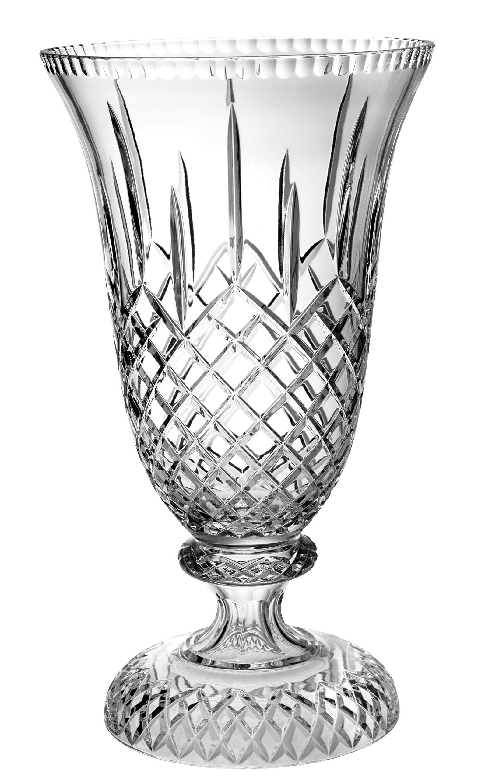 Superb Quality Crystal APL-118 Cut Crystal Centerpiece Footed Vase, 18''