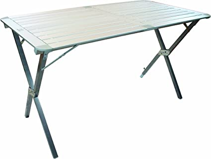 Highlander White Camping Folding Table Storage